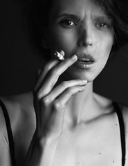 Fashion (kamianskoy) Tags: old portrait classic girl beautiful fashion advertising eyes artistic arts deep lips smoking curly mysterious harmful cigarettesmoke