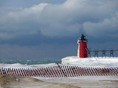 Winter South Haven beach (rkramer62) Tags: light cold michigan lakemichigan frigid southhaven snowfence hff rkramer62 fencefriday