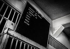 Alcatraz - Canteen Daily Breakfast Menu (King Grecko) Tags: california blackandwhite usa white black history abandoned blanco monument contrast america canon menu eos us lowlight bars san francisco noir urbandecay negro clarity historic erosion prison jail bayarea americana 5d alcatraz canteen canon5d therock derelict canoneos blanc highlight gaol alcapone prisoner topaz lightroom incarceration alcatrazisland mkiii alcatrazprison mk3 nationalstatepark eos5d nikefex cellbars alcatrazcruises alcatraztours silverefex 5dmkiii statenationalpark eos5dmkiii