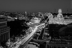 Madrid (Sonia Montes) Tags: madrid blackandwhite bw black byn blancoynegro canon luces noche calle nocturna vistas terraza ayuntamiento alcal
