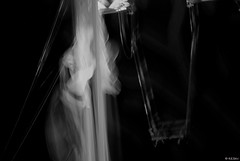"Courage or ""Suicidus interruptus"" (Silandi) Tags: life bw fall march photo blackwhite artist circus rope swing acrobat courage archetype 2014 safetynet  highwirecircusartist renateeichert resilu suicidusinterruptus"