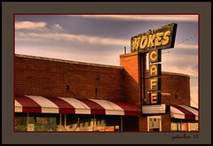 Hokes Cafe (the Gallopping Geezer '5.0' million + views....) Tags: old food classic sign dinner canon vintage lunch restaurant cafe nebraska drink ad advertisement business eat dine backroad smalltown geezer 2010 hiway corel advertise ogallala lincolnhighway hokes