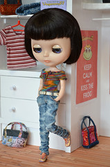 Blythe doll in hand washed jeans pants and hand knitted top