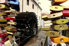 Between the Padlocks (Hythe Eye) Tags: prague praha czechrepublic padlocks watermill