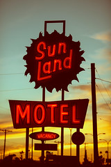 It Was Everything He Ever Knew (Thomas Hawk) Tags: arizona mesa sunlandmotel usa unitedstates unitedstatesofamerica motel neon sunset fav10 fav25 fav50 fav100