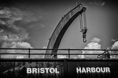 bristol harbour (Daz Smith) Tags: dazsmith fujixt20 fuji xt20 andwhite bath city streetphotography people candid canon portrait citylife thecity urban streets uk monochrome blancoynegro blackandwhite mono train carriage bristol harbour crane skies clouds