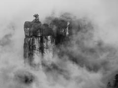 Enshrouded (Marc Briggs) Tags: dsc9455cw rostrum fog yosemite pillar tower column mist landscape sierra sierraneveda