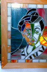 img452 Frida Kahlo stained glass portrait - by Diane Rodriguez (kalihikahuna74 (OkinawaKhan808)) Tags: cali california thebay bayarea vacation trip august 1997 1990s 90s analog predigital camera scanned scan old oldschool school pointandshootcamera pointandshoot us america unitedstates unitedstatesofamerica sanfrancisco san francisco stateside