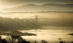 Menai Mist (Gareth Mon Jones) Tags: sunrise mist brigde anglesey wales
