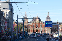 Amsterdam Centraal (J_Piks) Tags: railway road amsterdam holland netherlands nederland lampposts tram centraal station wires damrak 300views 400views