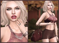 #143 Felt it all around you. (Violet Batriani | Blogger | Model) Tags: secondlife secondlifefashion blog bento catya vista head hands red maroon brown bag shorts croptop nailsystem chrome