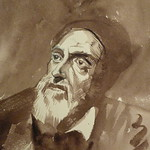 DELACROIX Eugène - Têtes, Etudes d'après la Gravure de L'Autoportrait du Titien (drawing, dessin, disegno-Louvre RF10599) - Detail 04 thumbnail