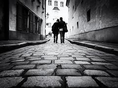 walking (Sandy...J) Tags: olympus oldtown walking cobblestones city people monochrom blackwhite streetphotography street urban