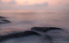 Vapor (sakthi vinodhini) Tags: sea morning serene silky rocky rocks early kovalam chennai india tamilnadu tamil nadu ocean cwc cwc585 force mighty long exposure