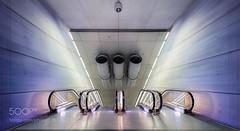 Pushing the limits II (John. Blakey) Tags: ifttt 500px light blue sweden escalator speed subway fast staircase stairway scandinavia triangle moving fiction organic pk malm futute malmö