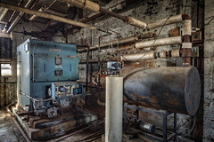 First floor had these older boiler sitting idle. (billmclaugh) Tags: theshoefactoryantiquemall lebanon ohio shoes manufacturing brick windows industry industrial warehouse reznor spaceheaters antiques canon 5dmiii 24mmtse tiltshift highdynamicrange hdr adobe photoshop lightroom photomatix on1