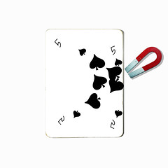 five of spades (brescia, italy) (bloodybee) Tags: 365project playingcards cards play game 5 five spade magnet horseshoe humor fun stilllife white black square