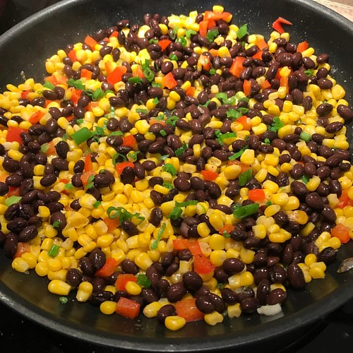 #food should be #colorful :) Corn and Black Bean Sauté with Red Pepper and Green Onion #personalchef