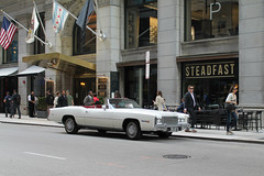 Chariot (Flint Foto Factory) Tags: chicago illinois urban city spring april 2017 downtown loop tuesday evening afternoon rushhour 1975 cadillac eldorado convertible white paint red leather interior steadfast restaurant 120 wmonroe lasalle intersection kimpton gray hotel petrosinos parlor salon spa front threequarter view flag americanflag classic vintage american luxury car auto automobile generalmotors gm fwd