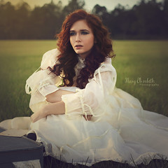 Echos of the Past (MaryElizabethPhotography) Tags: girl redhair sunset dreaming vintage another time beauty victorian ethereal whimsical portrait antique ginger storybook rustic moody melancholy beautifullight alone waiting past