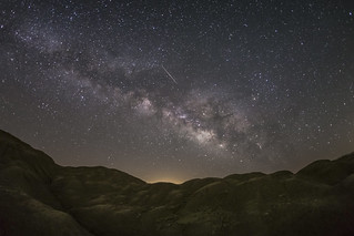 Lyrid Meteor and Milky Way Over a Mars-like Landscape. Take 2.