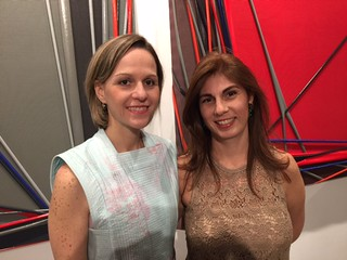 Imago, art in action founders Juanita Antonorsi and Trina Oropeza, celebrating the first anniversary in Coral Gables.