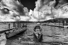 "Waterhead, Ambleside, North West England (Silent Eagle  Photography) Tags: sep silent ""silent eagle photography silenteaglephotography canon canoneos5dmarkiii water boats clouds sky bird shadows reflections bw blancoynegro northwestengland ambleside waterhead northwest silenteagle09 outdoor monochrome iso50"