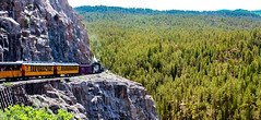 Cornering (trumanders) Tags: approved risky business riskybusiness riskyroad adventure train yellow yellowtrain cliff trainoncliff highaltitude railway high durango silverton mining locomotive