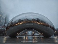 Through (ancientlives) Tags: chicago illinois usa michiganavenue millenniumpark thebean cloudgate evening lights modernart sculpture rain clouds weather tuesday spring april 2017 walking streetphotography travel night