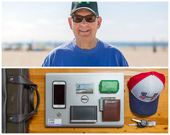 Ray Diptych (J Trav) Tags: persona diptych dad portrait father whatsinyourbag theitemswecarry showusthecontentsofyourbag thingsorganizedneatly playedelrey california losangeles beach