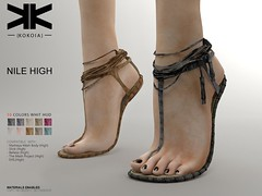 Nile High :: Woman Shoes :: 10 Colors ({kokoia}) Tags: nile mesh kokoia slink flat shoes shoe feet summer black pack maitreya belleza themeshproject tmp straps mid cords sandals high eve secondlfie woman virtual 3d