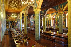"The Refectory (dining hall) ""trapeza'' of the Monastery of Simonos Petra (Simonopetra) Mount Athos, Chalkidiki Greece (George @) Tags: refektorium refectory trapeza dininghall τραπεζαρία τράπεζα lastsupper μυστικόσδείπνοσ wooden tables frescoes monastery holy mount athos simonos simon petra simonopetra άγιο όροσ ιερά μονή σίμωνοσ πέτρασ mt interior monks painted architecture travel travelingreece θρησκεία εκκλησία church easter πάσχα μεγάλη εβδομάδα saint faith προσευχή orthodox ιερόσ ναόσ history greece ελλάδα ελλάσ chalkidiki halkidiki χαλκιδική macedonia george eyes papaki photography"