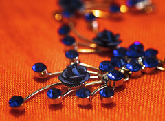 Orange and blue- HMM! (Jo Evans1 - Off and on for a while) Tags: macro mondays theme orange blue scarf necklace bokeh