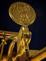 Gold crested falcon representing the god Horus symbolizing Tutankhamun's kingship on the yoke of his chariot 18th Dynasty New Kingdom Egypt 1332-1323 BCE (mharrsch) Tags: falcon horus crest symbol chariot gold transportation pharaoh kingtutankhamun burial tomb funerary 18thdynasty newkingdom egypt 14thcenturybce ancient discoveryofkingtut exhibit newyork mharrsch premierexhibits