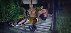 The New Duck (Vin Mortensen) Tags: secondlife avatar gay couple friends blond hairy handsome men duck mallard