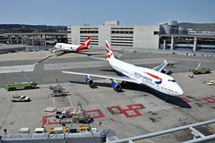 Final Arrival (Rich Snyder--Jetarazzi Photography) Tags: britishairways speedbird baw ba boeing 747 747400 747436 b747 b744 gcivv retirementflight arriving arrival sanfranciscointernationalairport sfo ksfo millbrae california ca airplane airliner aircraft jet plane jetliner jumbojet ramptowera rcta atower sanfranciscofiredepartment sffd rescue9 rescue10