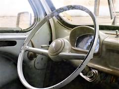Multifunctional steering wheel:  NOT (ronmcbride66) Tags: cahor frannce steeringwheel classic vintage fiat dashboard horn
