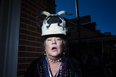 sorry michelle, you're right (Ben Helton) Tags: nola mardigras fullfrontalflash fullfrontal pug puglife lady surprised horns neworleans streetphotography benhelton 28mm flash candid street