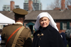 Faces of Vimy Ridge 100: Contrast (Can Pac Swire (away for a bit)) Tags: toronto ontario canada canadian forces armed army fortyork national historic site reenactment worldwar one 1 i wwi great war 1917 battle vimyridge 2017 100th 100 anniversary centenary remembrance 2017aimg7852 nurse soldier