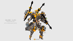 Galahad Class Mech Battle Campaign Acquistion Pack Posing #03 (clmntin.E) Tags: walk walker mech mecha mechanical afol mocs moc lego digital designer destroyer archer class military futuristic future robot hard exo suits suit hardsuits exosuits scifi builder mini miniland minifig minifigurines figurines povray pov blue render bluerender toy pose pilot cyklops galahad knights round table king arthur neoteric lance shield battle campaign