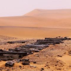 Train ain't coming (simonjmarlan) Tags: rail sleepers desert sand sky mist africa namibia