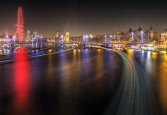 Thames Traffic Trails (andy.gittos) Tags: londoneye london bigben england night longexposure light trails traffic hdr waterloo bridge westminsterabbey westminster parliament skyline