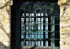 Reflection and repetition (marensr) Tags: promontory point hyde park chicago lake michigan field house windows trees water reflection