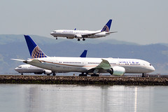 United 787 and 737s at SFO (Ian E. Abbott) Tags: boeing7879 boeing787 boeing 7879 787 dreamliner 37814 unitedairlines united ual n38955 boeing737824 boeing737800 boeing737 737824 737800 737 31659 n77525 sanfranciscointernationalairport sanfranciscoairport ksfo sfo