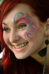 Beautiful girl face paint (Damo Walker) Tags: portrait girl beautiful smile closeup pilsen redhead greeneyes ojosverdes precious laugh earrings flowergirl redhair guapa hermosa plzen brighteyes bigsmile checa peliroja beautifulface czechgirl amazingsmile facepaintgirl damowalker pelirojacheca plzenprojects