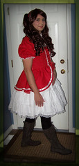 Red Lolita Dress and Boots 4 (Christine Robyn Lane) Tags: dress cross lolita dresser crossdresser petticoat pettiecoat
