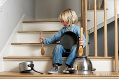 Pot and Pan Band (Allison Achauer) Tags: boy music playing stairs wooden kid child singing little brother band spoon pots drumming noise loud pans hitting banging