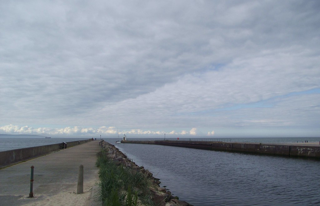 Nairn Harbour Scotland - another view of the breakwater and channel