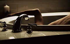 153/365 (chrisv_photo) Tags: texture window water canon bathroom shower hands candles skin contemporary naturallight bathtub 365 concept drown conceptualphotography