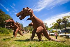 Hunting Party (derekbruff) Tags: sculpture metal weird rusty wideangle highway1 roadside halfmoonbay dinosaurs trex attraction 10mm
